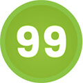 green circle with 99 written inside to represent 99 intensity levels