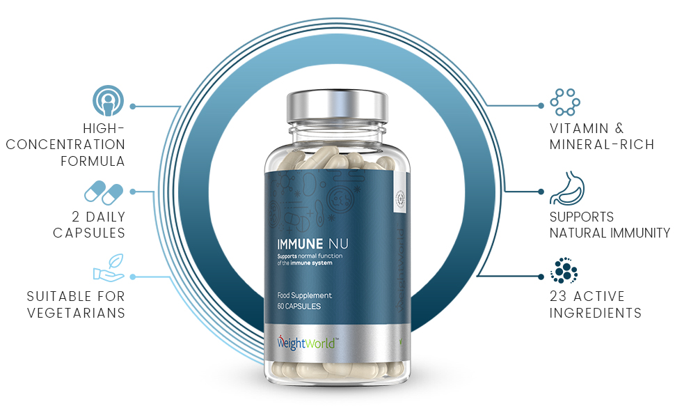 Front view of bottle of weightworlds immune nu capsules for immune system support