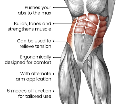 image showing what muscles of the body the 8 pad abs machine targets