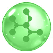 green circle with a chemical compound inside to represent hyaluronic acid