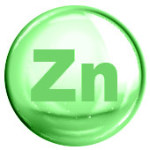 green circle with Zn written inside to represent zinc mineral