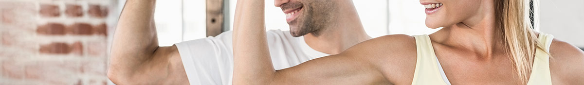 Heading banner Image for Muscle Toners showing man and woman with biceps