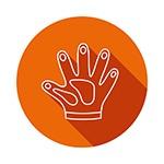 cartoon image of a glove to represent cellulite scrubs