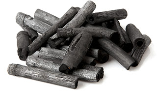 planks of charcoal which is the main ingredient in the activated charcoal tablets