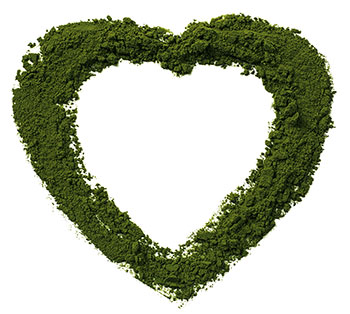 image of chlorella powder shaped into a heart on a table