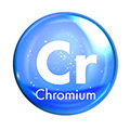 blue circle with cr written inside to represent a chromium molecule
