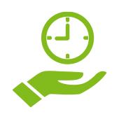 cartoon hand holding clock to represent regularity