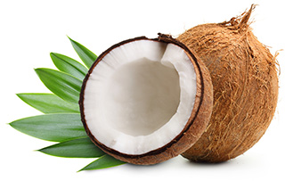 image of a coconut behind a half cut coconut to show the benefits of coconuts