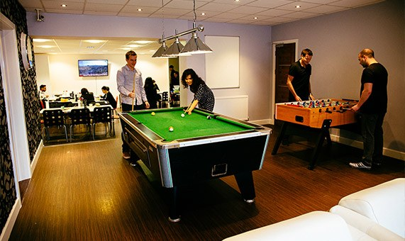 photograph of office common room and staff kitchen