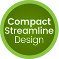 green circle with compact streamline design written inside