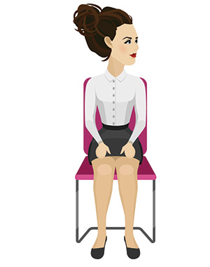 woman siiting straight on a chair performing double chin exercises