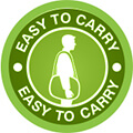 green circle with a person carring a circulator to show that it is easy to carry
