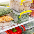 image of containers on a shelf in the freezer to show that you can freeze meals