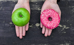 Green Apple And Pink Donut