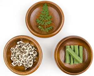 three bowls of foods that are healthy including moringa