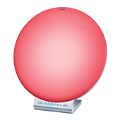 Front view of beurer's mood enhancing daylight therapy lamp with mood light mode