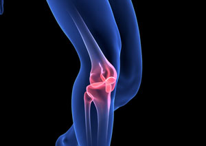 holographic image of a persons knee joint to show benefits of collagen