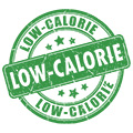 stamp style icon reading low calorie to show that the products have low calories