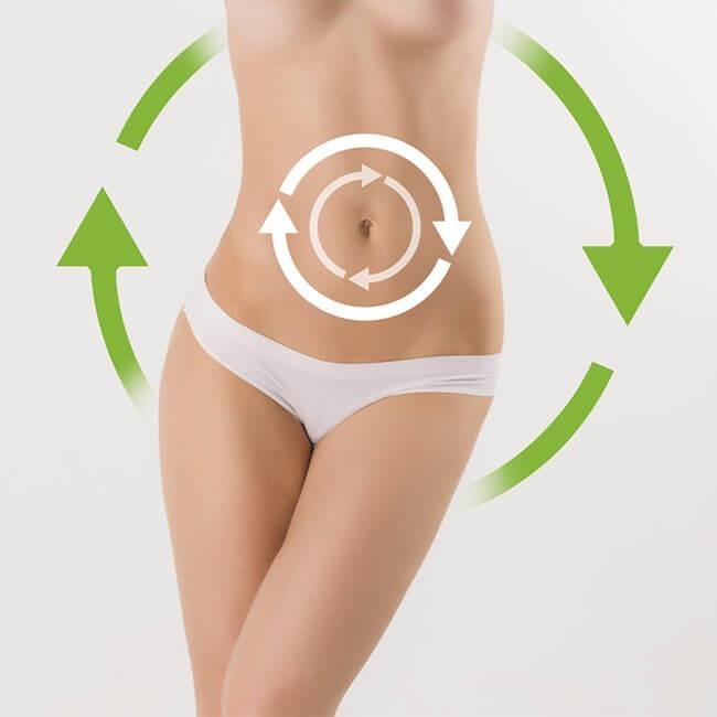 Womens belly with arrows to show the effect of colon cleanse on the digestive system