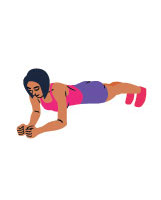 cartoon woman wearing gym clothes in plank position