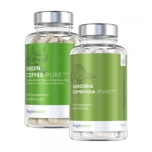 front view of garcinia cambogia pure and green coffee pure bottles