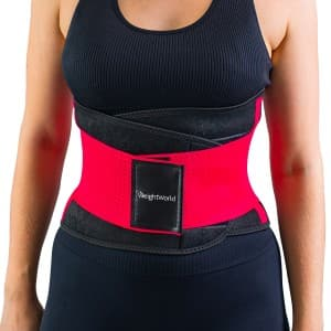 woman wearing weightworlds slimming belt sweat belt