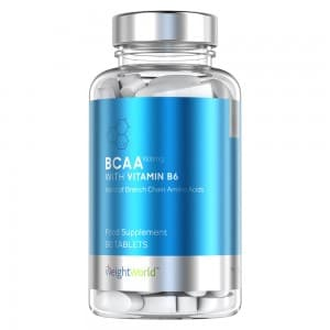 front view of weightworlds bcaa with vitamin b6 capsules