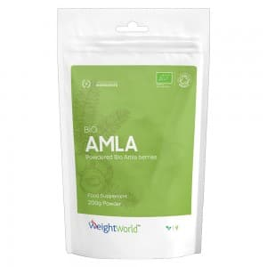front view of weightworlds bio amla powder packaging