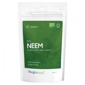 Front view of weightworlds super neem powder packet