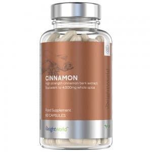 Front view of weightworlds cinnamon capsules container