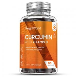 front view of weightworlds curcumin with vitamin d capsules