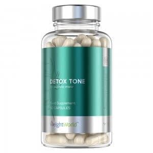 front view of weightworlds detox tone capsules bottle