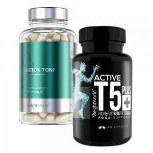 front view of active t-5 plus and detox tone capsules bottle by weightworld