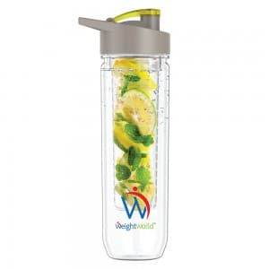 front view of weightworlds fruit infuser water bottle