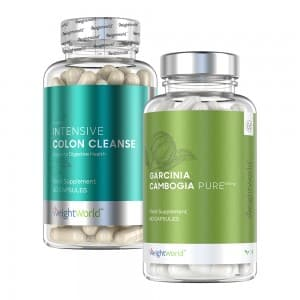 front view of weightworld colon cleanse and garcinia cambogia pure capsules bottles