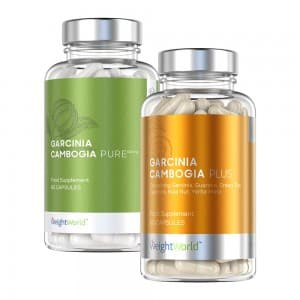 front view of garcinia cambogia plus and pure bottles