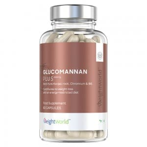 Front view of weightworld glucomannan with chromium bottle