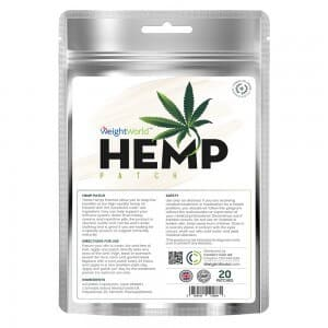 front view of weightworld's 20 hemp patches packet