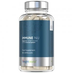 front view of weightworlds immune nu immune system Supporting capsules