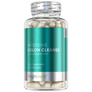 front view of bottle for weightworld intensive colon cleanse capsules