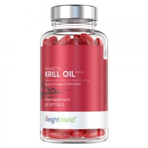 Front view of weightworld krill oil capsules bottle