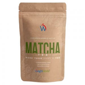 front view of weightworlds ortte matcha green tea powder