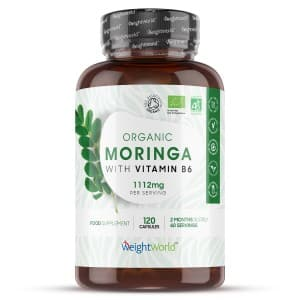 front view of weightworlds Pure moringa capsules bottle