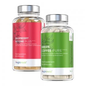 front view of raspberry ketone and green coffee capsules bottles