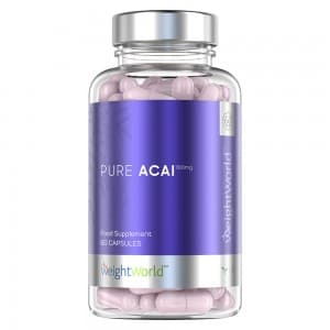 front view of weightworlds pure acai capsules