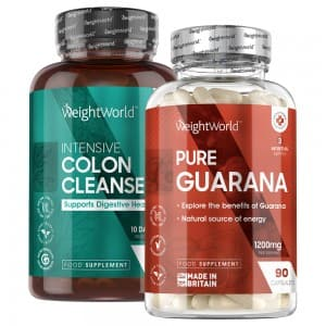 front view of weightworlds colon cleanse capsules next to pure gaurana bottle