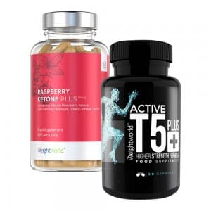 front view of weightworlds t5 plus and raspberry ketone pure