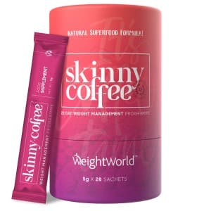 front view of weightworld skinny weight managment coffee packets
