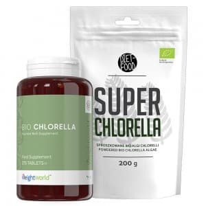 front view of weightworlds bio chlorella algae tablets and powder