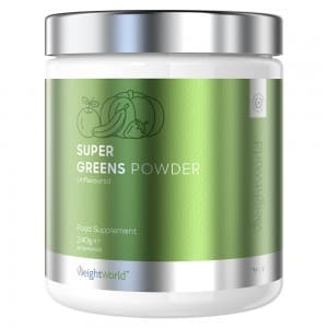 front view of packaging for weightworlds Super Greens Powder